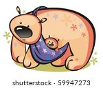 Mum a she-bear drags the child - stock vector