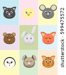 set of cute animals' faces... | Shutterstock . vector #599475572