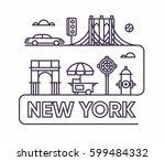 new york city  vector flat... | Shutterstock .eps vector #599484332