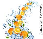 water splash with orange... | Shutterstock . vector #599494895