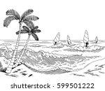 sea windsurfing graphic black... | Shutterstock .eps vector #599501222
