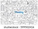 hand drawn plumbing fixtures... | Shutterstock .eps vector #599502416