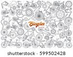 hand drawn bicycles shop doodle ... | Shutterstock .eps vector #599502428