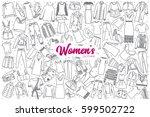 hand drawn women's clothing... | Shutterstock .eps vector #599502722
