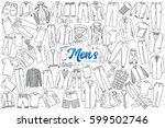 hand drawn men's clothing... | Shutterstock .eps vector #599502746