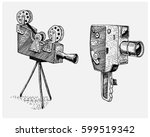 photo movie or film camera... | Shutterstock .eps vector #599519342