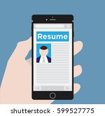 phone with resume | Shutterstock .eps vector #599527775