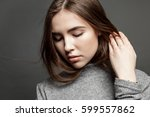 portrait of a young cute... | Shutterstock . vector #599557862