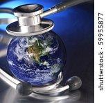 stethoscope listening planet | Shutterstock . vector #59955877