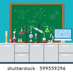 laboratory equipment  jars ... | Shutterstock .eps vector #599559296