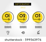 yellow circle infographic three ... | Shutterstock .eps vector #599563976