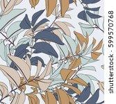 bright vector leaf seamless... | Shutterstock .eps vector #599570768