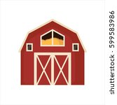 Red Barn House Icon Isolated O...