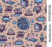handmade soap seamless pattern. ... | Shutterstock .eps vector #599585336