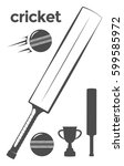 set of cricket equipment design ... | Shutterstock .eps vector #599585972