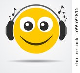 emoticon with headphones in a... | Shutterstock .eps vector #599592815