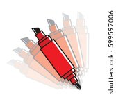 red double sided maker pen... | Shutterstock .eps vector #599597006