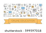 vector line banner for online... | Shutterstock .eps vector #599597018