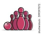 bowling set with bowling ball... | Shutterstock .eps vector #599597072