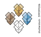 cardboard box color variations... | Shutterstock .eps vector #599599106