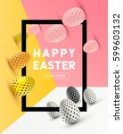 an abstract easter frame design ... | Shutterstock .eps vector #599603132