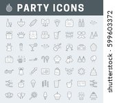 a set of simple outline party... | Shutterstock .eps vector #599603372