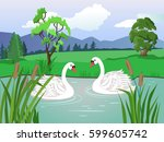 Vector Landscape. Two White...