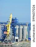 cargo crane and grain dryer in...   Shutterstock . vector #599607026