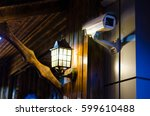 cctv camera at night security... | Shutterstock . vector #599610488