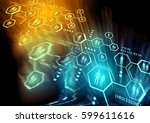 connected people. a closely... | Shutterstock . vector #599611616