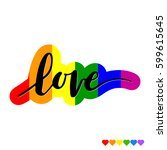 hand drawn phrase love on... | Shutterstock .eps vector #599615645