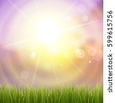 fresh green grass. sunburst... | Shutterstock .eps vector #599615756