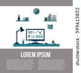 modern workspace with desktop... | Shutterstock .eps vector #599615852
