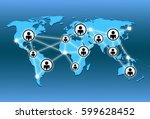 world map and network connection | Shutterstock . vector #599628452