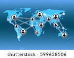 world map and network connection | Shutterstock . vector #599628506