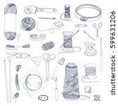 knitting and sewing accessories.... | Shutterstock .eps vector #599631206