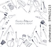 fashion cosmetics square... | Shutterstock .eps vector #599631215