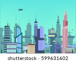 future city flat illustration.... | Shutterstock .eps vector #599631602