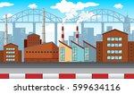 city scene with factories and... | Shutterstock .eps vector #599634116