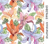 seamless pattern with lily | Shutterstock .eps vector #59963845