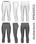 women's 3 4 length compression... | Shutterstock .eps vector #599643512