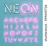 glowing neon font set   vector... | Shutterstock .eps vector #599645726