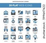 vector set of online education... | Shutterstock .eps vector #599647622