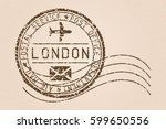 london mail stamp. old faded... | Shutterstock .eps vector #599650556