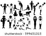 toddler girl silhouettes.... | Shutterstock .eps vector #599651315