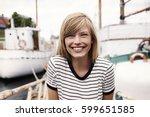 stunning smiling blond woman ... | Shutterstock . vector #599651585