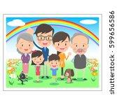 family memorial photo three... | Shutterstock .eps vector #599656586
