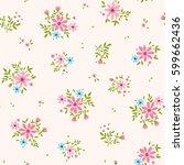 floral pattern. pretty flowers... | Shutterstock .eps vector #599662436