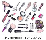 beauty store background with... | Shutterstock .eps vector #599666402