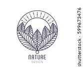 Vector logo of nature elements on white background. Linear icon of landscape with trees and sun in circle- business emblems, badge for a travel, farming and ecology concepts, health and yoga Center. | Shutterstock vector #599673476